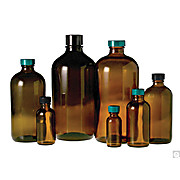 Image of Amber Boston Round Bottles with Black Phenolic Polyseal™ Cone Caps