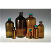 Image of Amber Boston Round Bottles with Black Phenolic Pulp/Tin Foil Caps