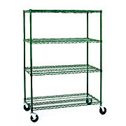 Mobile Wire Shelving, Epoxy Coated