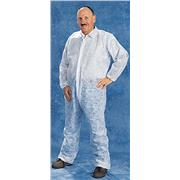 Disposable White Polypropylene Coveralls with Elastic Wrists