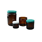 Jars, Straight Sided Round, Amber; 2oz (60ml), White Polypropylene F217 & PTFE Lined Cap, 24/csJars, Straight Sided Round, Amber; 2oz (60ml), White Polypropylene F217 & PTFE Lined Cap, 24/cs