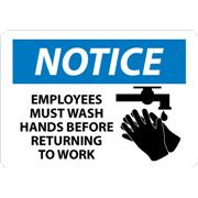 Notice, Employees Must Wash Hands Before Returning To Work, Graphic Signs