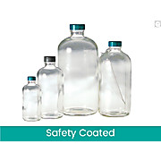 Safety Coated Clear Boston Round Bottles
