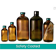 Safety Coated Amber Boston Round Bottles