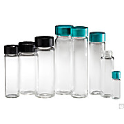 Clear Borosilicate Sample Vials with Black Phenolic Rubber Caps