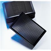 Corning® 384 Well Optical Imaging Flat Clear Bottom Black Polystyrene TC-Treated Microplates with Bar Codes