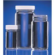 Clear AC Medium Round Glass Bottles With White Polypropylene Cap with Teflon® Faced Foamed Polyethylene Liner