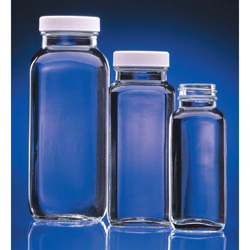 eb539bf2d4bd Clear French Square Glass Bottles with White Polypropylene Cap with ...