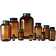 Amber Wide Mouth Packer Bottles with Green Thermoset F217 & Teflon® Caps