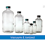 Vacuum & Ionized Clear Boston Round Bottles with Green Thermoset F217 & PTFE Caps
