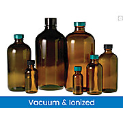 Vacuum & Ionized Amber Boston Round Bottles with Black Phenolic Pulp/Vinyl Caps