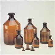 Amber Ground Glass Narrow Mouth Stoppered Bottles