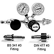 Single-Stage Ultra-High Purity Chrome-Plated Brass Gas Regulators with International Fittings