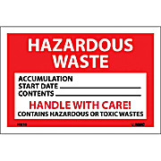 Hazardous Waste, Handle with Care Labels