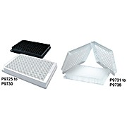96 Well Solid Microplates, Polystyrene, black, Flat well bottom, 350µl Capacity, Inner Pack: 25, 100/PK