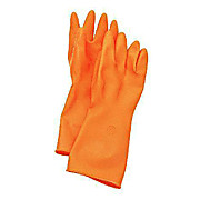 "Acid Cleanroom Gloves, Latex, Orange, Embossed Palm, 20 mil Thick, 14"" Length"