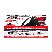 "CARE Black 12"" Nitrile Exam Powder-Free Gloves"