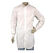 EPIC Cleanroom Frock, Microporous Coated, Snap Front, Knit Wrist & Collar, No Pockets, White, Small