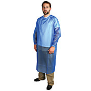 Vinyl 4mil Lightweight Cleanroom Coat Apron, Long Sleeves