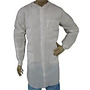 EPIC Spunbound Meltblown Polypropylene (SMS) Heavyweight Labcoats, 3 pockets, Knit Wrists and Collar, White