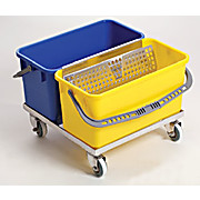 "Slim ""T"" Double Bucket Stainless Steel Trolley Mopping Cart System"