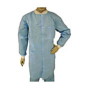 EPIC Light Weight Spunbound Polypropylene Labcoats, Knit Wrists and Collar, Snap Front, 3 Pockets, Blue, Small