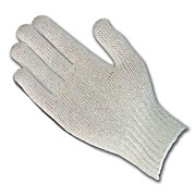 Uncoated Cotton Polyester Knit Gloves, 7 gauge, Standard Weight, Natural Color, Men's Medium