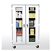 Transport Mobile View Cabinet, White, 46 x 24 x 78