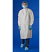 Cleanroom Frocks, Microporous, Disposable, Elastic Wrists and Mandarin Collar, White