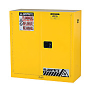 "Sure-Grip EX Flammable Safety Cabinet, 43"" W x 44"" H x 18"" D, Yellow, Capacity: 30 gal., 1 Shelf, 2 Manual Close Doors"