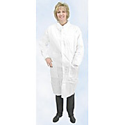 Critical Cover AlphaGuard Lab Coats, Tapered Collar 3 Pockets, Knit Wrists, Serged Seams, White, Sizes Small thru 4X-Large