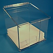 "Cleanroom Wiper Dispenser with Lid, 9"" x 9"", Clear Acrylic or PETG"