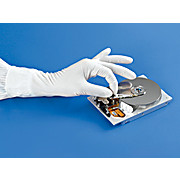 "White Nitrile Cleanroom Gloves, 12"", Class 100"