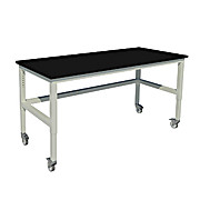 Adjustable Height, Heavy Duty Steel Table with Swivel Casters