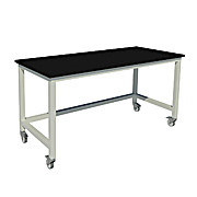 Fixed Height Heavy Duty Steel Tables with  Phenolic Work Surfaces and Swivel Casters