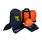 Ultralight PPE 4 Arc Flash Kit with Ventilated Hood - 40 Cal/cm2, JACKET/PANT, VENTILATED HOOD, SAFETY GLASSES AND CARRY BAG, LARGE