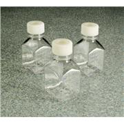 Square PETG Media Bottles with Septum Closure: Sterile, Shrink-Wrapped Trays
